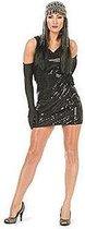 Zwart pailletten jurkje voor dames 40 (l)