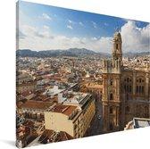 Skyline van de stad Málaga Canvas 40x30 cm - klein - Foto print op Canvas schilderij (Wanddecoratie woonkamer / slaapkamer) / Europese steden Canvas Schilderijen