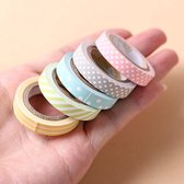 5x Washi Tape Strepen Stippen  - Gekleurde Decoratie Masking Plakband Afplak Tape Stickers Assortiment