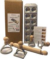 Foodiletto - Raviolimaker Set - Vorm 12 Ravioli - Aluminium/Beukenhout - Zilver
