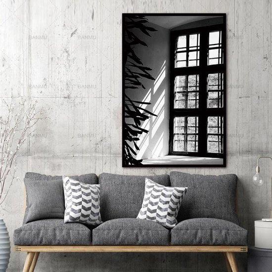 Bol Com Canvas Schilderij Lichtval Kunst Aan Je Muur Xl Woonkamer Poster Zwart Wit