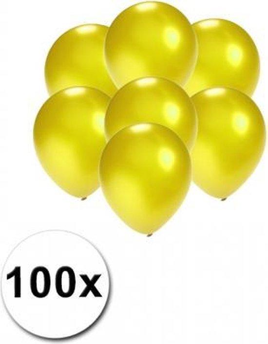 Kleine ballonnen geel metallic 100 stuks