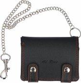 Portemonnee/portefeuille zwart met ketting 12,4 cm