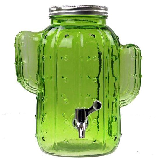 Cactus glazen drank dispenser / tap 4 liter
