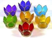 Set van 7: Lotus sfeerlicht klein chakra goudrand - 8 - Schelp - Meerkleurig - Goudkleurig - L