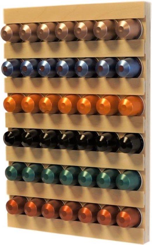 Koffiecup wandhouder hout naturel voor 42 capsules