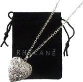 Ketting 48 cm + 4 cm verstelbaar met hart medaillon hanger – zilverkleurig – Rhylane