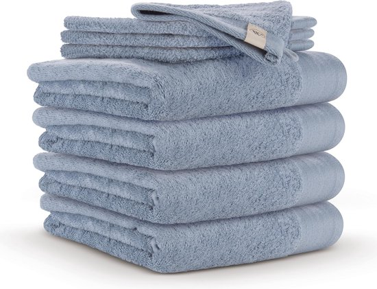 Walra Badgoedset - 6x badhanddoek 50x100 cm + 6x washandjes 16x21 cm - Blauw