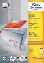 Avery witte etiketten QuickPeel  formaat 70 x 41 mm (b x h) 2.100 stuks 21 per blad doos van 100 blad