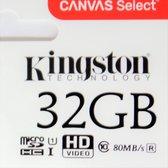 Kingston Micro SD kaart 32 GB + SD Adapter Canvas (HD video- 80MB/S/R) 100% origineel - Lifetime  Grantie