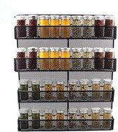 QUVIO Groot Kruidenrek Staal - Ophangbaar - Voor 32 Kruidenpotjes - 4 laags - Zwart