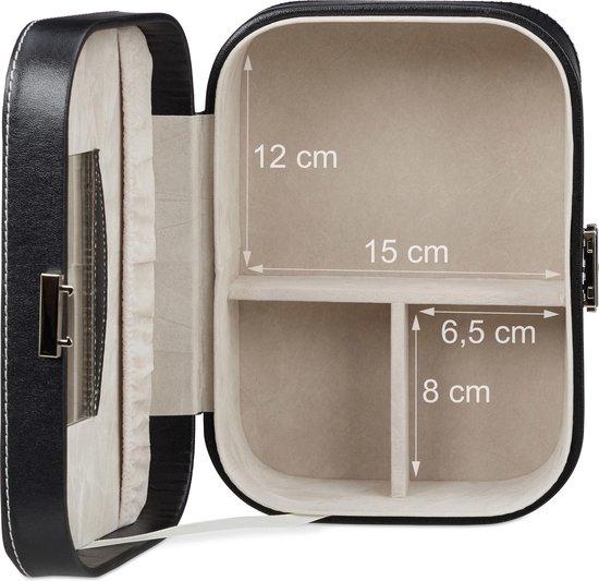 relaxdays sieradendoos kunstleer - sieradenkist met slot - sieradenkistje met spiegel zwart - Relaxdays