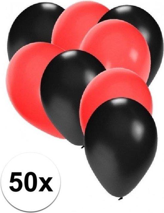 50x ballonnen zwart en rood - knoopballonnen
