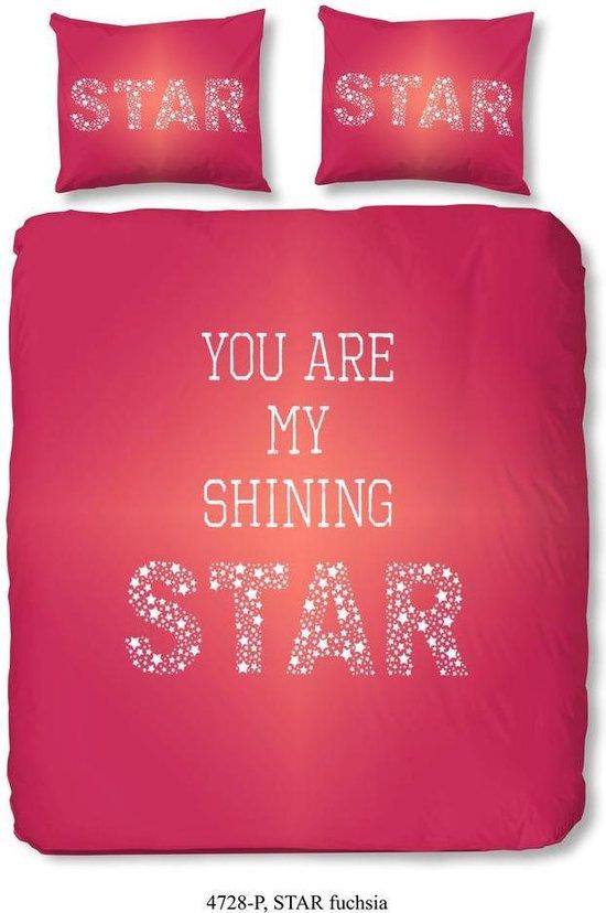 2 persoons dekbedovertrek 4728-P met sterren - You are my shining star - fuchsia roze (200x200/220 cm + 2 slopen)