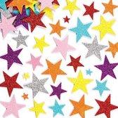 Foam stickers met glitter ster - knutselspullen voor kinderen - scrapbooking verfraaiing om te maken en versieren kaarten decoraties en knutselwerkjes (150 stuks)