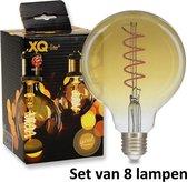 Filament LED lamp (G95) E27   2.5w    2000K = Super Warm wit   = 16 Watt gloeilamp   Set van 8 lampen