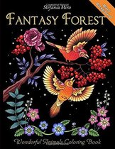 Fantasy Forest Black Background: Wonderful Animals Coloring Book