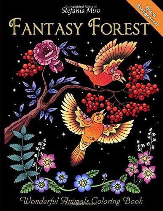 Afbeelding van Fantasy Forest Black Background: Wonderful Animals Coloring Book