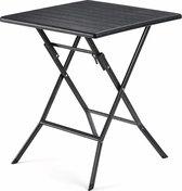 Stijlvol Vierkant Tafeltje voor Buitengebruik - Houten look - Zwart - 62x62x73cm