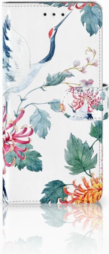 Motorola Moto E5 Plus Wallet Book Case Hoesje Bird Flowers