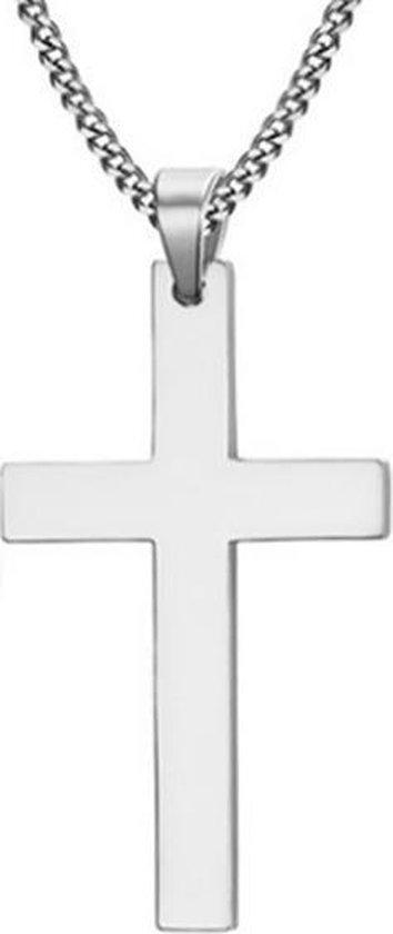 Heren Ketting - Kruis kettinghanger - Cubaanse Schakel - Mendes - Zilverkleurig