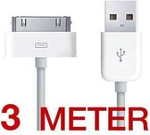 3 meter 30 - pins USB 2.0 oplaad kabel voor iPhone 4 / 4G / 4GS - wit