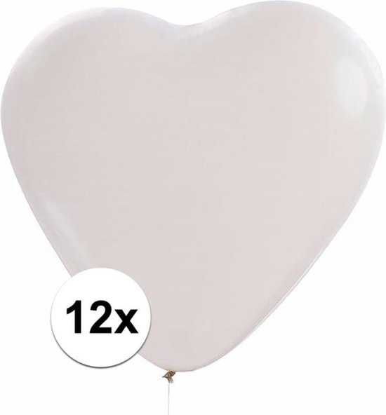 12x Hartjes ballonnen wit