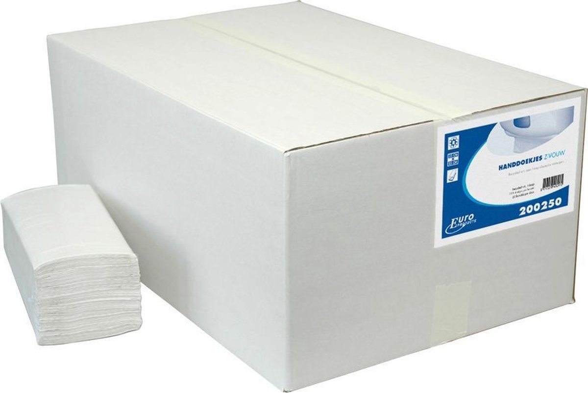Euro Products Z-vouw, 1 laags Vouwhanddoekjes Recycled wit