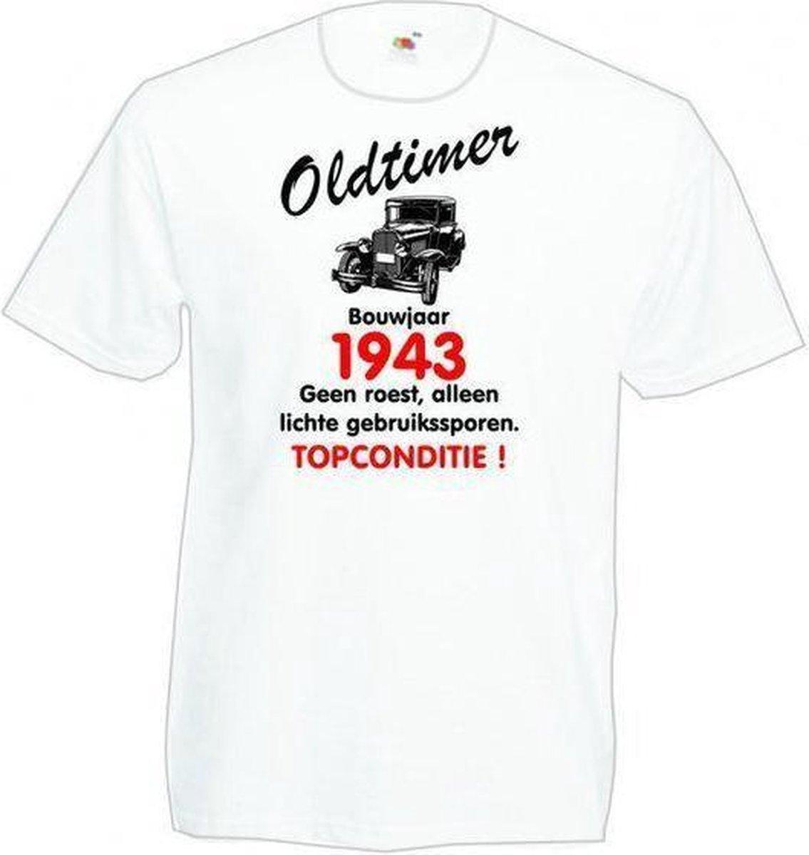 Mijncadeautje heren leeftijd T-shirt wit maat M - Oldtimer Bouwjaar (geboortejaar) 1943