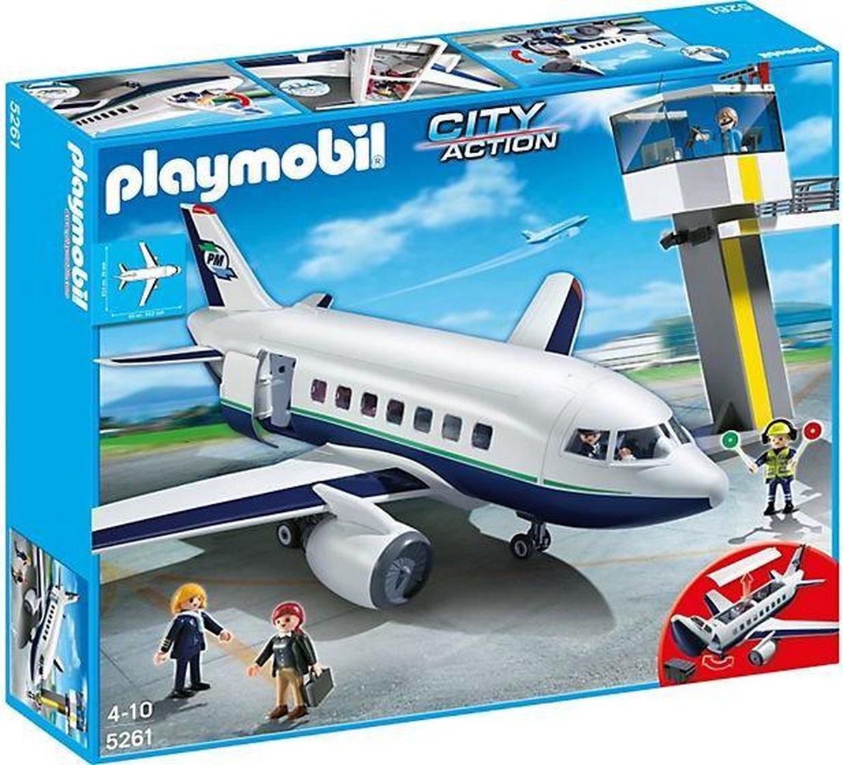 PLAYMOBIL City Life Vracht- en passagiersvliegtuig met verkeerstoren - 5261