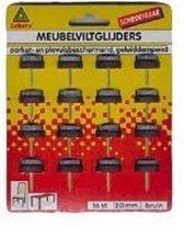 Meubelviltglijders met schroef bruin 24mm 12 st.