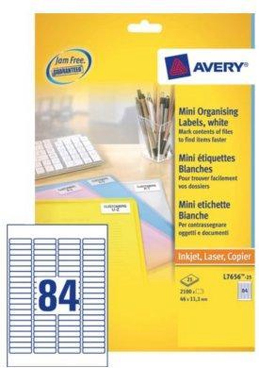 Huismerk Avery L7656-25 Laserprinter Etiket 46x11,1