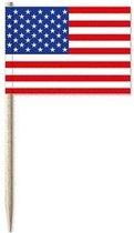 50x cocktailprikkers USA Amerika - snack prikkertjes vlaggetjes