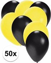 50x ballonnen zwart en geel - knoopballonnen