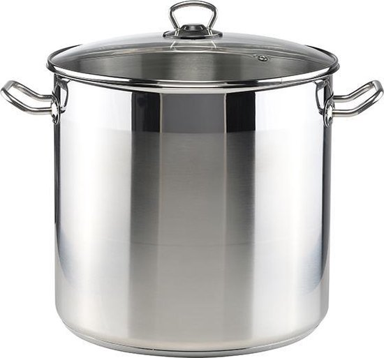 RVS Soeppan met glazen deksel - 20 liter - Vaatwasserbestendig