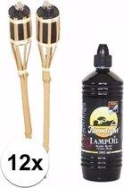 12 complete bamboe tuinfakkels 61 cm incl fakkel olie navulling