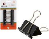 Papier clips/houders zwart 6 stuks 32 mm - papierbinders - kantoor artikelen en benodigdheden
