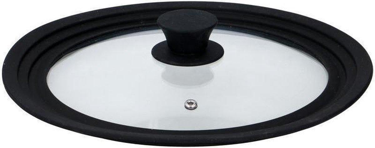 Universele glazen deksel met siliconen rand - Voor pannen van  24 cm tot 26 cm