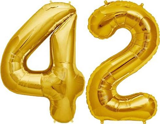 Cijfer 42 Goud Helium 86 cm Excl. Helium