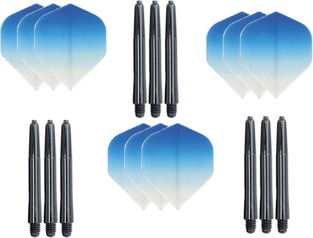 3 sets (9 stuks) Super Sterke - Dragon darts - Fade Top Blauw - darts flights - plus 9 extra zwarte - darts shafts