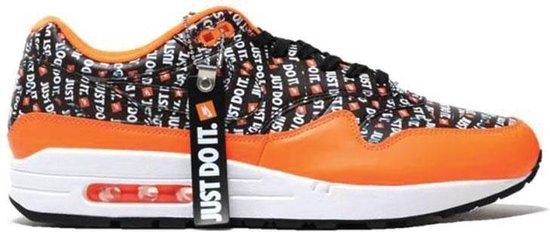Nike Air Max 1 Premium - Just Do It - Heren Sneakers Sportschoenen Schoenen Zwart-Oranje 875844-008 - Maat EU 42.5 US 9