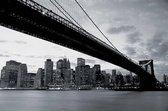 New York Brooklyn Bridge - Fotobehang - 232 x 315 cm - Zwart/Wit