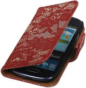 Samsung Galaxy S3 Mini Hoesje Bloem Bookstyle Rood