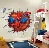 Muursticker Spiderman | Spider-Man door muur (3D-effect) | Muursticker superheld Marvel Avengers | Deursticker Kinderkamer Jongenskamer | 50 x 40 cm - Topkwaliteit