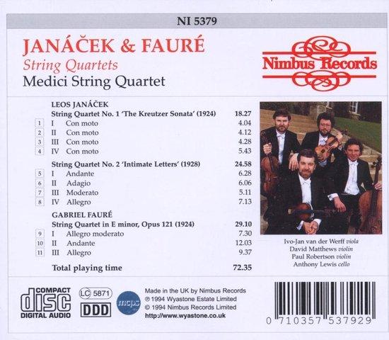 Janacek String Quartets Nos. 1&2/Faure String Quartets Op.121/Medici Quartet