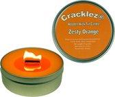4 stuks Cracklez® Knetterende Houten Lont Geurkaarsen in blik Zesty Orange. Sinaasappel Geur. Oranje.