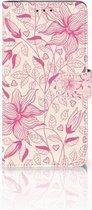 Samsung Galaxy J4 Plus (2018) Uniek Boekhoesje Pink Flowers