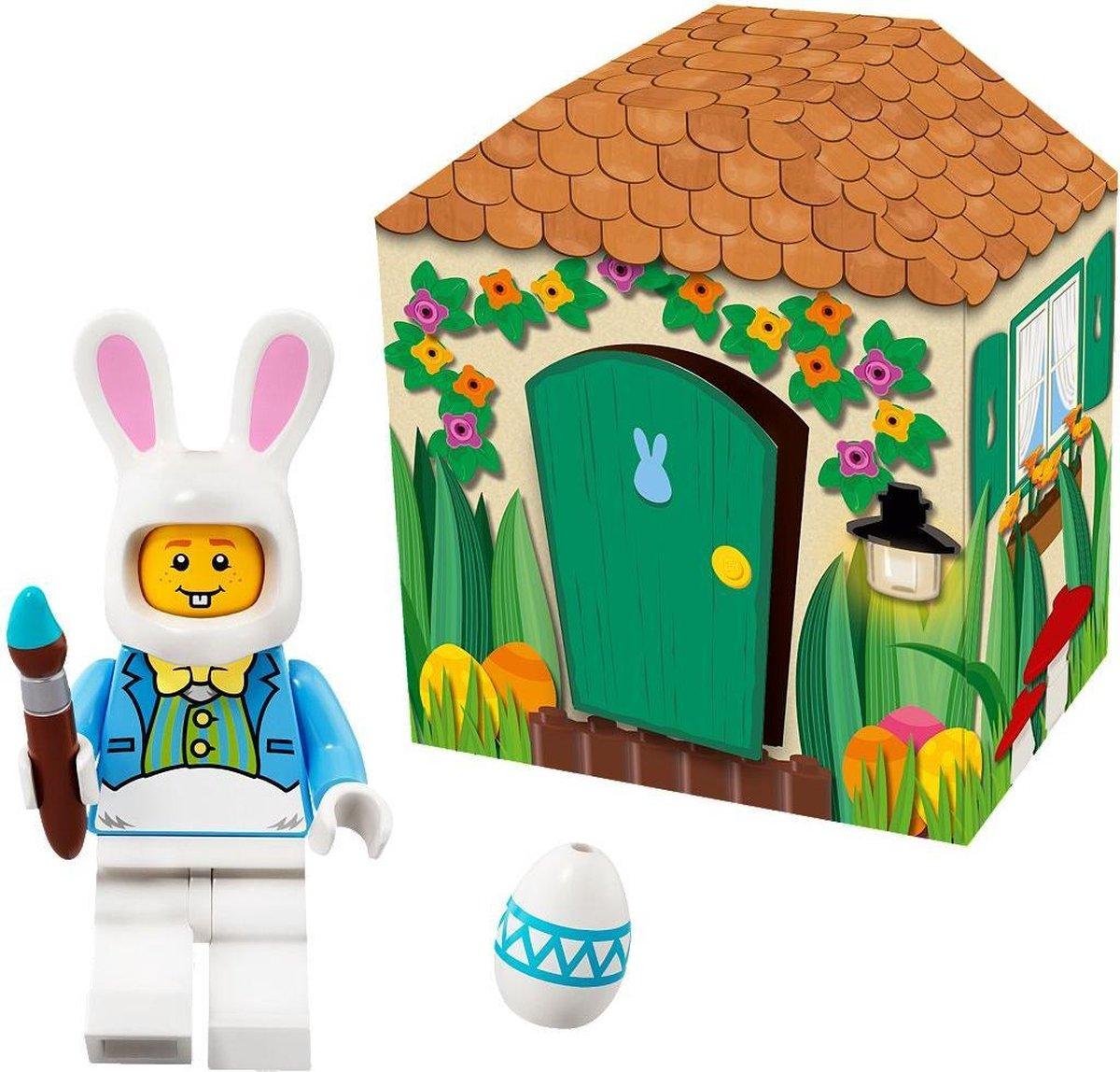 LEGO 5005249 Paashaas mini LEGO poppetje figuur in kartonnen huisje