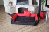 XXL Hondenbed van kunstleer - hondenkussen hondensofa kattenbed hondenkorf - waterdicht - Rood / Zwart