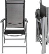 Tuinstoel - campingstoel - inklapbaar - 7 standen verstelbaar - lichtgewicht aluminium - lichtgrijs